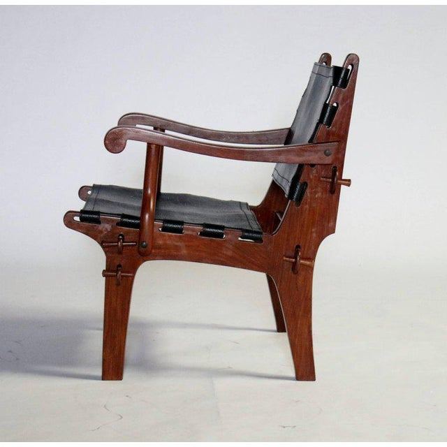 Brown Pair of Angel Pazmino Rosewood and Leather Sling Armchairs - A Pair For Sale - Image 8 of 10