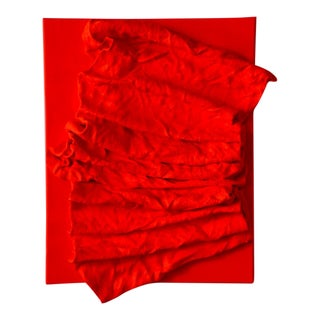 """Fluorescent Fire Red Folds"" Mixed Media Wall Sculpture For Sale"