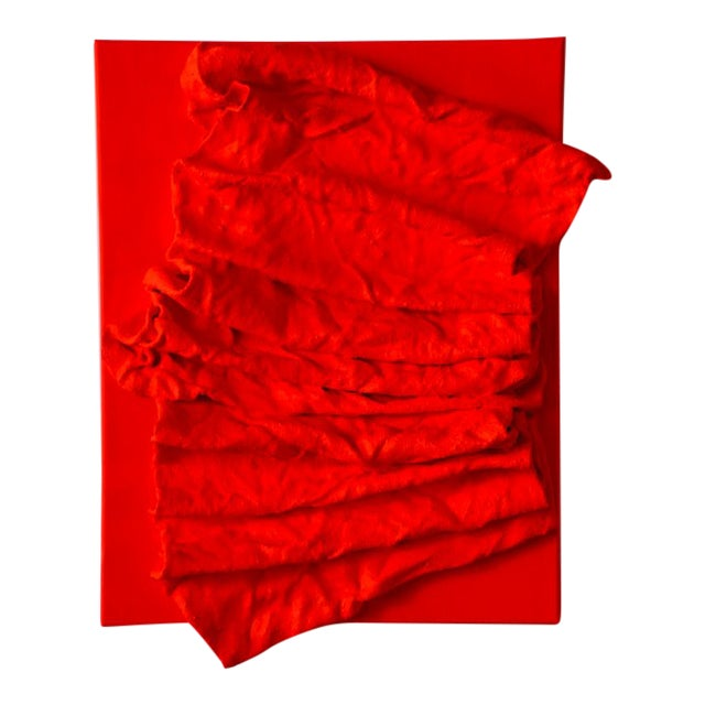 """""""Fluorescent Fire Red Folds"""" Mixed Media Wall Sculpture For Sale"""