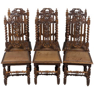 French Provincial Carved Oak Dining Room Chairs - Set of 6 For Sale