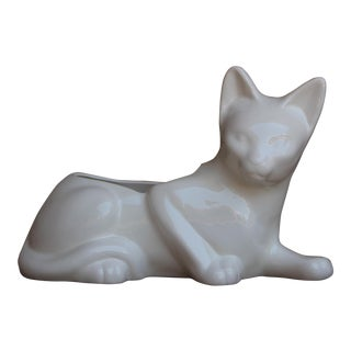 Vintage White Cat Ceramic Planter