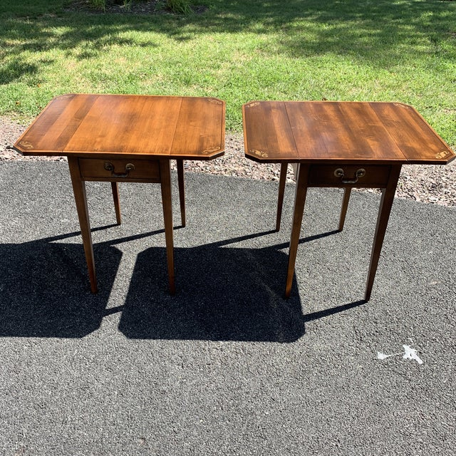 1960s L. Hitchcock Solid Wood Single Drawer Drop Leaf Side Tables - a Pair For Sale - Image 5 of 12