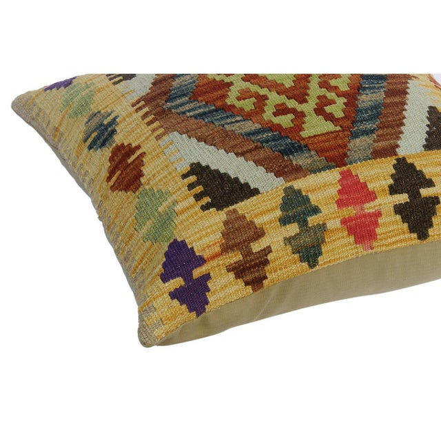 """Asian Christi Gold/Brown Hand-Woven Kilim Throw Pillow(18""""x18"""") For Sale - Image 3 of 6"""