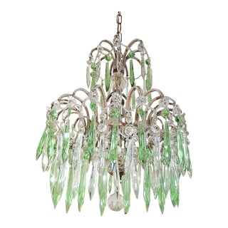 Italian Micro-Beaded Green Crystal Prisms Chandelier For Sale