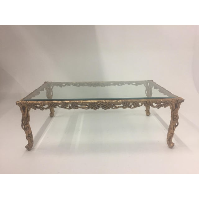 1960s Vintage Italian Faux Bois Hand Carved Gilded Wood Coffee Table For Sale - Image 13 of 13