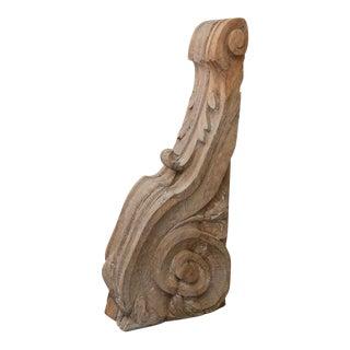 Large Hand-Carved Oak Corbel For Sale