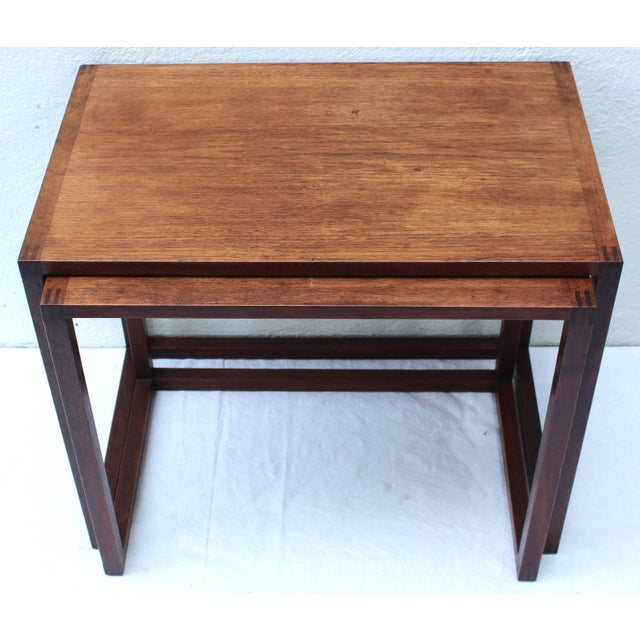 Mid-Century Modern Set of Two Swedish Nesting Tables by Karl Erik Ekselius For Sale - Image 3 of 9