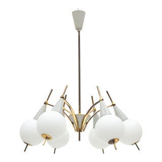 Italian Brass and Satin Glass Chandelier, 1950s For Sale