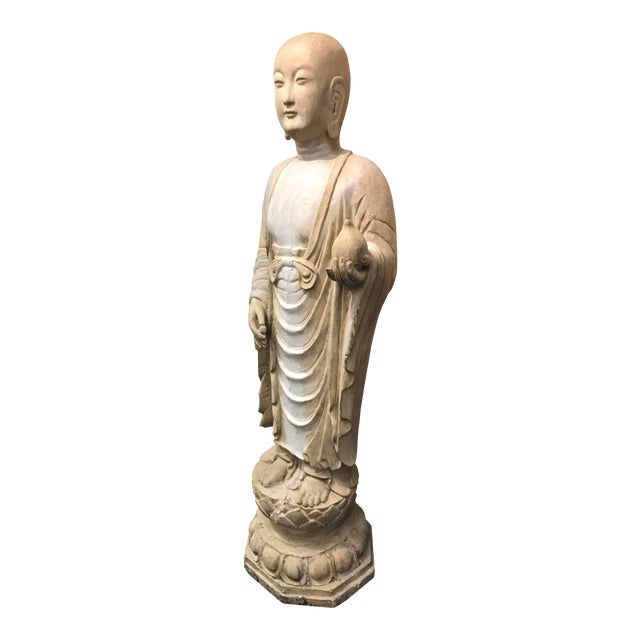 19th Century Hardwood and Polychrome Buddhist Figure For Sale