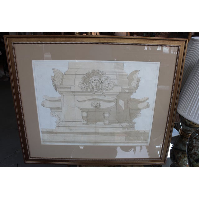 Offered is an original Felice Manlio ink and watercolor architectural rendering of a Memorial Fountain, matted and framed...