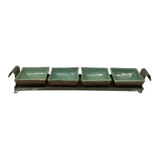 Vintage Rustic Stoneware 5-Piece Tray Set