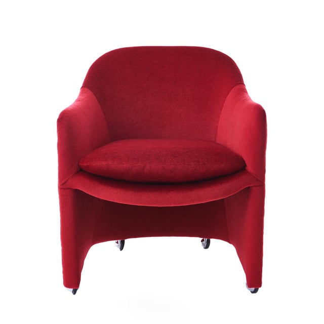 Rare Milo Baughman for Thayer Coggin rolling barrel dining chairs. Newly reupholstered in a lush crimson mohair with...