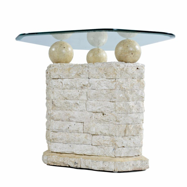 Maitland-Smith Style Mactan Tessellated Stone Orb Pedestal Coffee & End Tables For Sale - Image 4 of 8