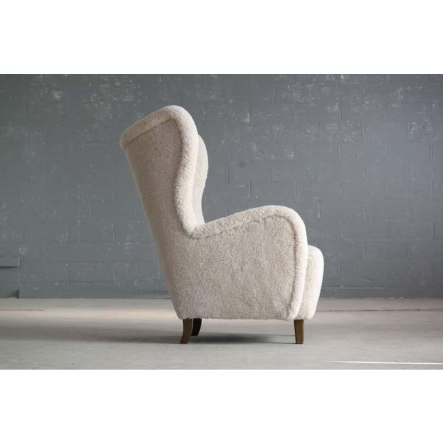 High Back Lounge Chair in Lambswool Danish 1940's Attributed to Flemming Lassen For Sale - Image 4 of 11
