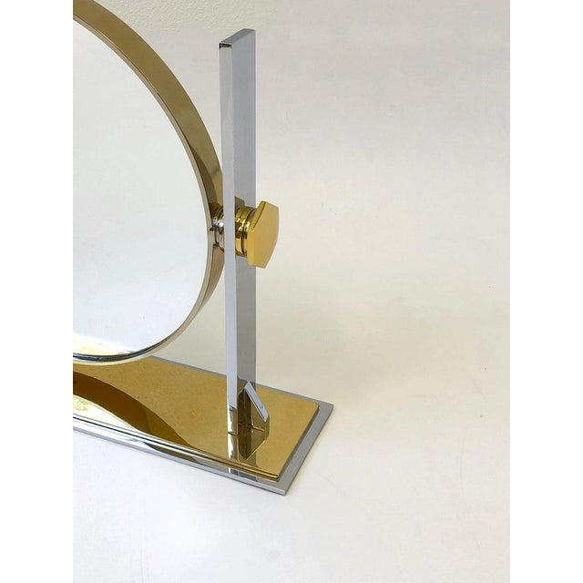 Brass and Nickel Vanity Mirror by Karl Springer For Sale In Palm Springs - Image 6 of 10