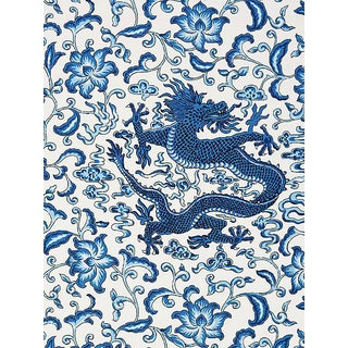 Scalamandre Chi'En Dragon Linen Print, Indigo Fabric For Sale