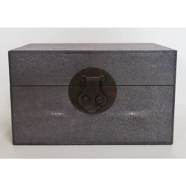 Italian gray shagreen wood box by Fabio Bergomi. Made in Italy. 2 in stock in Palm Springs originally priced at $2,000...