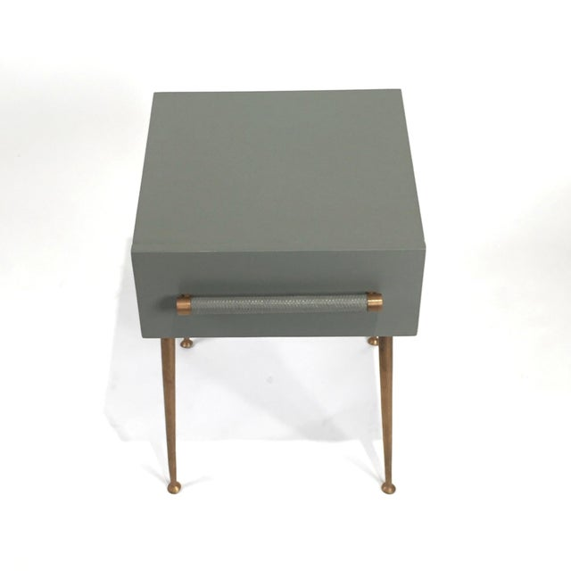 Danish Modern Danish Modern One-Drawer Bedside Table With Wicker and Brass Pull/Legs For Sale - Image 3 of 6