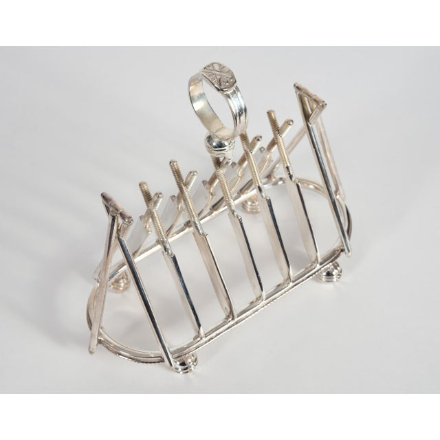 Contemporary Vintage English Silver Plate Cricket Sport Design Toast Rack For Sale - Image 3 of 10