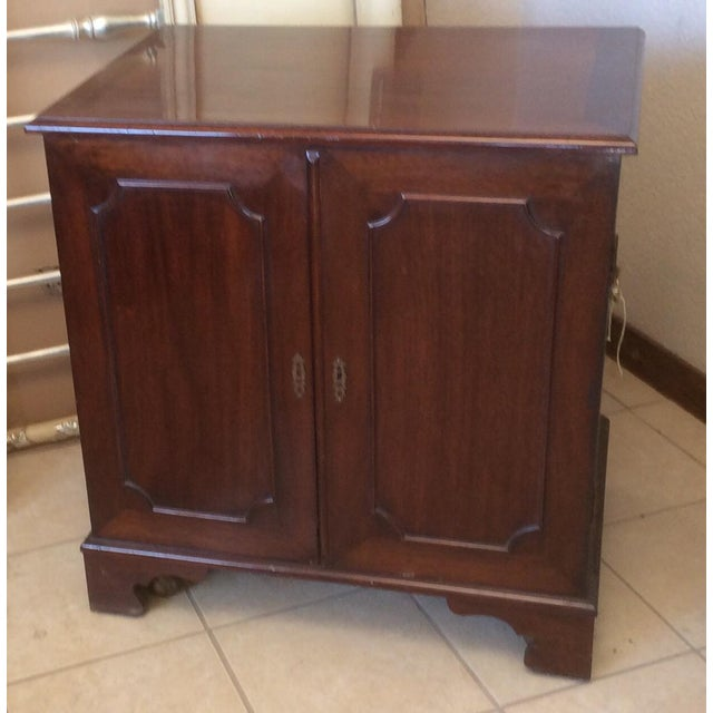Classic Mahogany Two Door Cabinet With Handles For Sale - Image 9 of 10