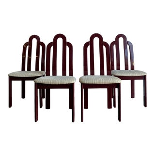 1980s Italian Art Deco Burgundy Arc Dining Chairs - Set of 4 For Sale