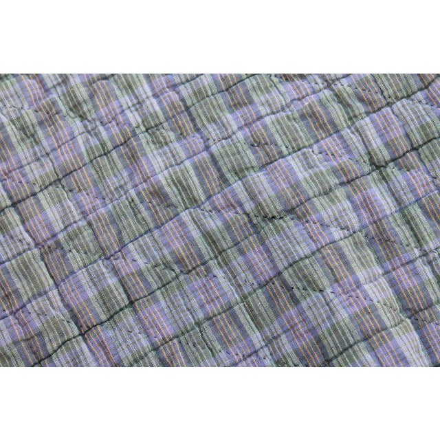 Blue Antique Amish Nine Patch Wool Quilt For Sale - Image 8 of 9