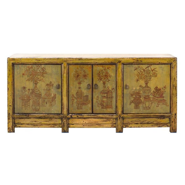 Yellow & Green Floral Sideboard or Buffet Table For Sale