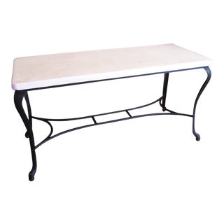 Industrial Iron and Enamel Kitchen or Console Table For Sale