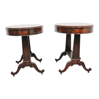 Regency Weiman Mahogany Leather Top Tables - a Pair