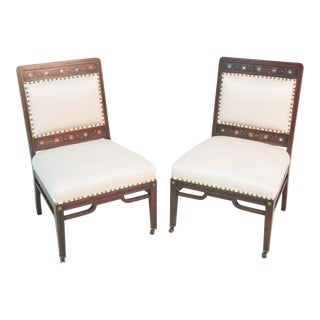 Moorish Herter Brothers Style Inlaid Slipper Chairs - a Pair