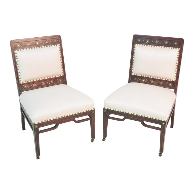 Moorish Herter Brothers Style Inlaid Slipper Chairs - a Pair For Sale