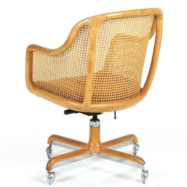 Brickel Associates Pair of Ward Bennett Cane Swivel Chair For Sale - Image 4 of 6