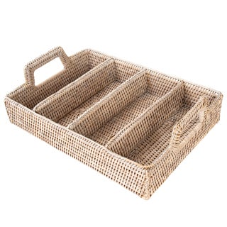 Artifacts Rattan 4 Section Cutlery Holder - Flat For Sale
