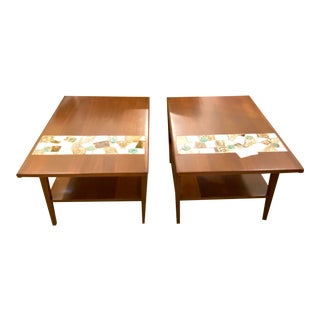 Vintage Pair of Mid Century Modern Wood Side End Tables W/ Ceramic Tile Inlay For Sale