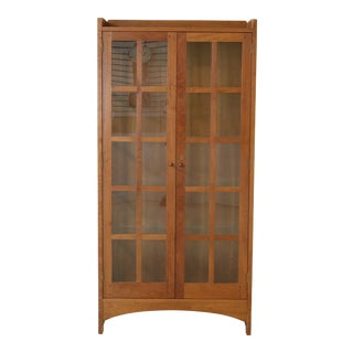 Stickley 2 Door Mission Cherry Lighted Curio Cabinet For Sale
