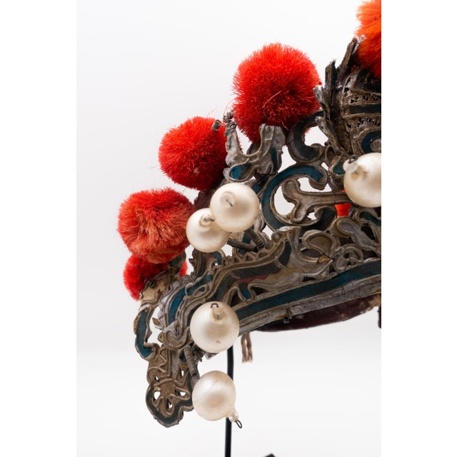 Antique Chinese Theatre Opera Headdress in Turquoise and Coral Colored Pom Poms For Sale - Image 4 of 6