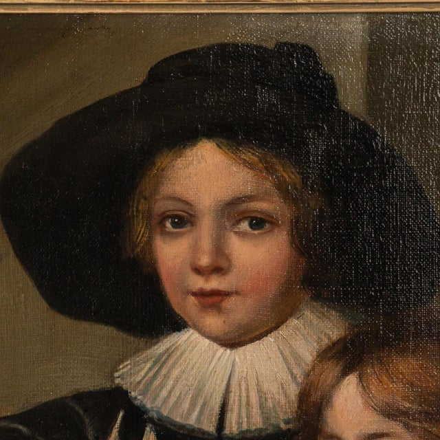 Portraiture 18th Century Antique Original German Portrait of Two Young Boys Oil Painting For Sale - Image 3 of 6