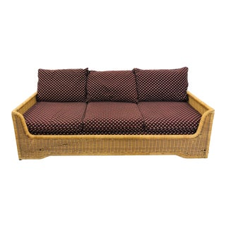 Vintage Woven Wicker Sofa by Founders For Sale