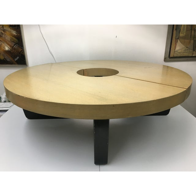Iconic 1949 Harvey Probber cocktail table consists of two semi-circular sections that, when put together, form a complete...