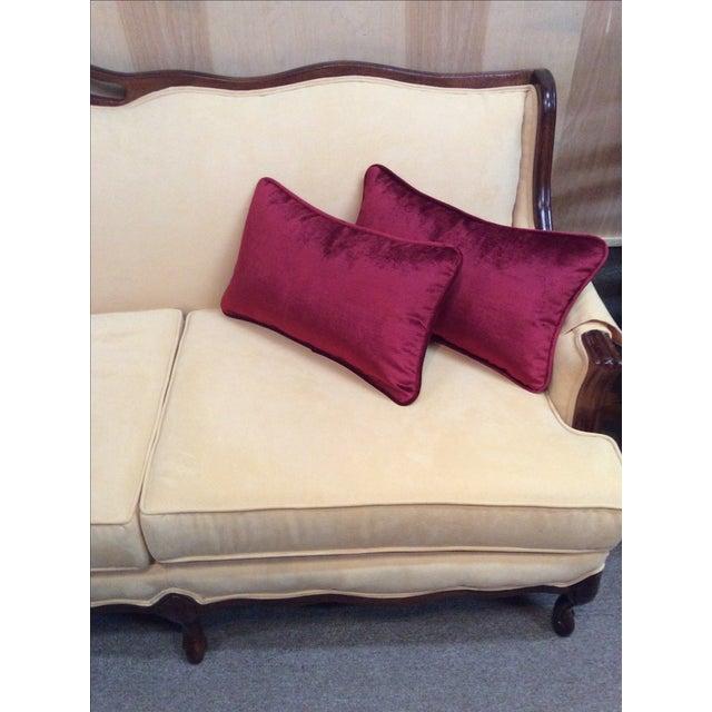 Burgundy Velvet Pillows - A Pair - Image 7 of 9