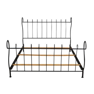 Black Wrought Iron Queen Size Sleigh Bed For Sale