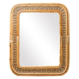 Vintage Woven Rattan Bamboo Mirror For Sale