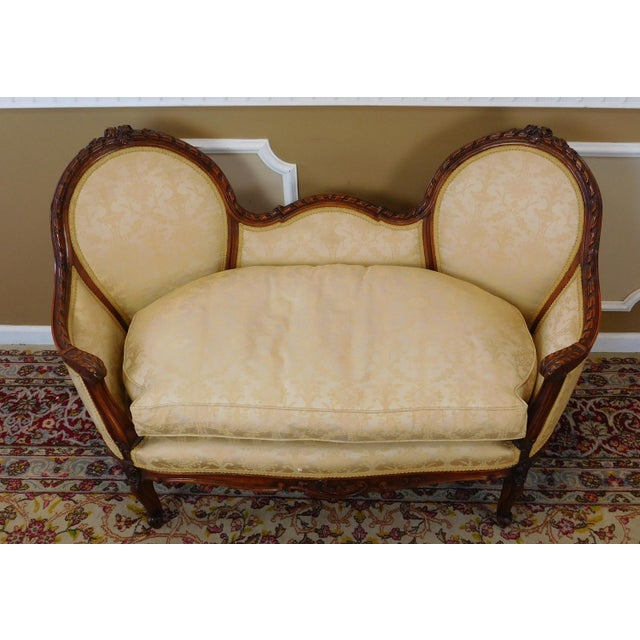 aspect loveseat of back image settee brass height mid width century bench product fit superior solid scallop