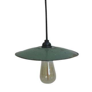 Classic French Bistro Enamel Shade Light For Sale