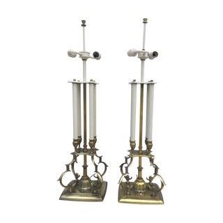 1950's Brass Stiffel Table Lamps - Pair