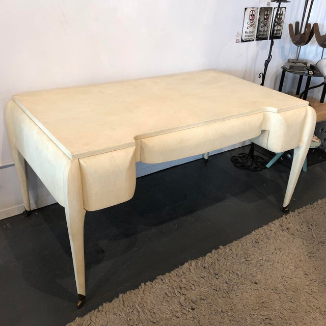 1970s Maitland Smith Shagreen Desk W Brass Sabots For Sale - Image 13 of 13