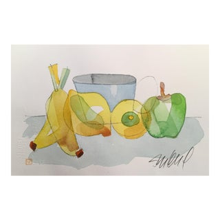 Still Life Lemon Bannana, Original Watercolor Painting