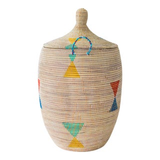 White With Multi-Color Triangles Basket For Sale