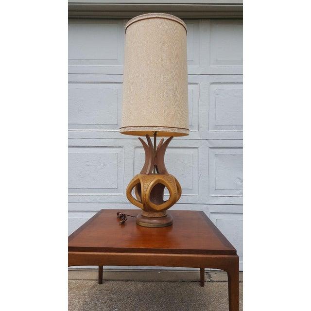 Plasto Mfg Co. Mid-Century Danish Chalkware & Walnut Table Lamp For Sale - Image 10 of 10