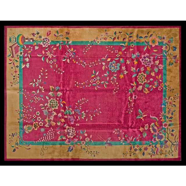 """1920s Chinese Art Deco Rug - 9'x11'8"""" For Sale - Image 9 of 9"""